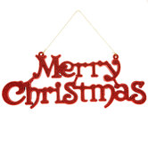 Red Glitter Merry Christmas Wall Decor